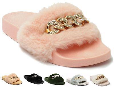 Cómodos piel sintética para mujer Slip On Diamante Flip Flop Slider Informal Zapatos Zapatillas