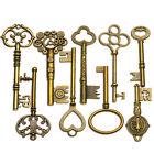 9PCS BIG Large Antique Vtg old Brass Skeleton Keys Lot Cabinet Barrel Lock