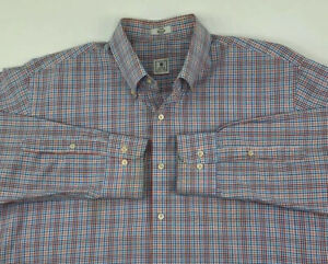 Peter-Millar-Mens-L-Large-Button-Front-Shirt-Long-Sleeve-Plaid-Blue-Red