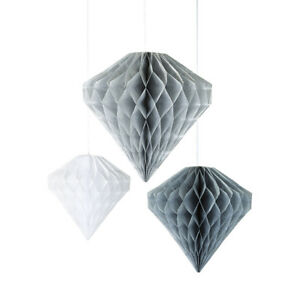 3-Pack-Diamond-Honeycomb-Party-Microfibre-Silver-Grey-White-Hanging-Decoration