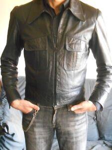 Détails sur veste en cuir homme d'extraordinaire qualité vintage des années 70 taille S