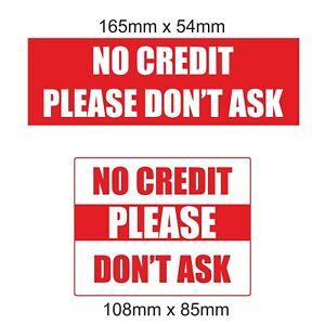 2 Pas De Crédit, Veuillez Ne Pas Poser Laminated Stickers Shop Taxi Cafe Traiteur Pub Bar-afficher Le Titre D'origine Demande DéPassant L'Offre