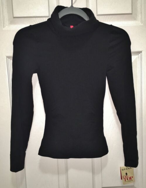 9e50a2cfa SPANX On Top and In Control Black Long Sleeve Turtleneck Top NEW Womens S M  L XL