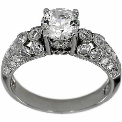 Diamond Engagement Ring SETTING With 39 Bezel Set Diamonds For a 3 4ct Center