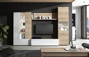 Mueble de comedor, modulo moderno para salon con LEDs, Blanco y Roble Canadian