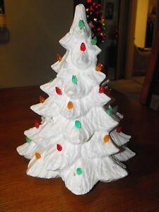 Image Is Loading Vintage Christmas Ceramic White Tree Light