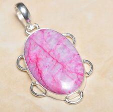 "Handmade Cherry Ruby Natural Gemstone 925 Sterling Silver Pendant 2"" #P05432"