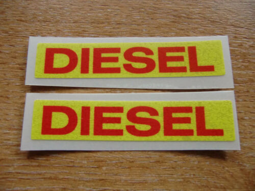 red on yellow 2 off 75mm decals//stickers DIESEL reminder stickers