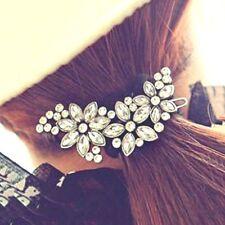 Flowers Crystal Silver Rhinestone Hair Barrette Clip Tuck Diamante Wedding Party