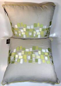 Modern Square Pillows 2 Pcs Set - Green and Gray Minimalist Design