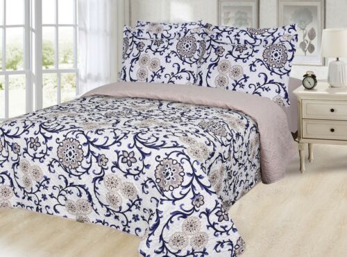 Printed Reversible 6 PC Quilt /& Sheet Set Queen Size Taupe Flower /& Navy Leave