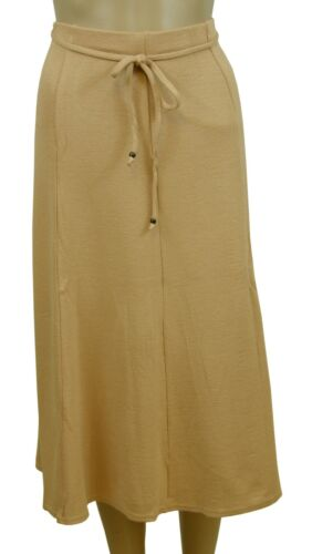 Light Nude Brown Soft Fluted Stretchy Floaty Calf Length Midi Skirt Size 16 NEW