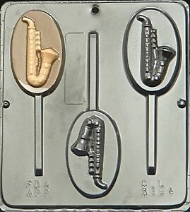 FS-NEW-3-Cav-Music-SAXOPHONE-Chocolate-Candy-Lollypop-Mold-Fondant-Clay-Plaster