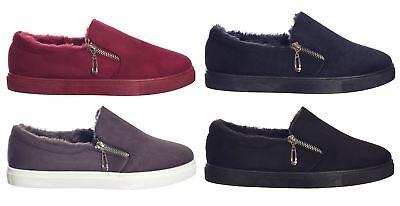 Zapatillas de Mujer Stiletto Sobre Playera Zapatos Planos Zapatillas Sin Cordones Mocasín Clásico UK3-8