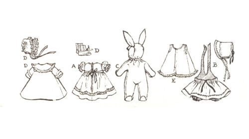 """Dy Dee Vtg 1950s Baby Doll Clothes Dress Pattern ~ 16/"""" Tiny Tears Betsy Wetsy"""