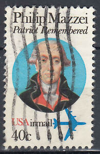 Estados unidos sello con sello 40c Airmail Philip Mazzei italia diplomat/3659