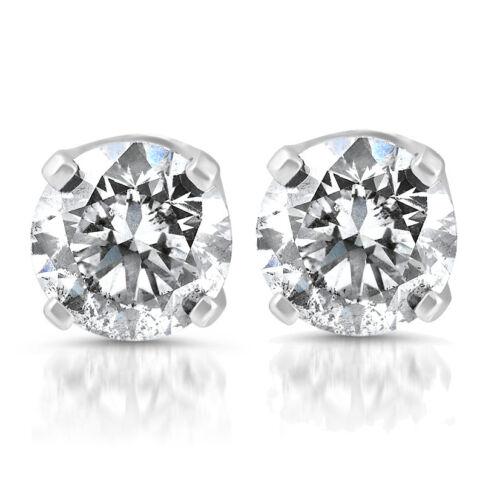 14k or Blanc 1//5 Carats Véritable Round Diamond 4-Prong Rivets Solitaire Boucles D/'oreilles