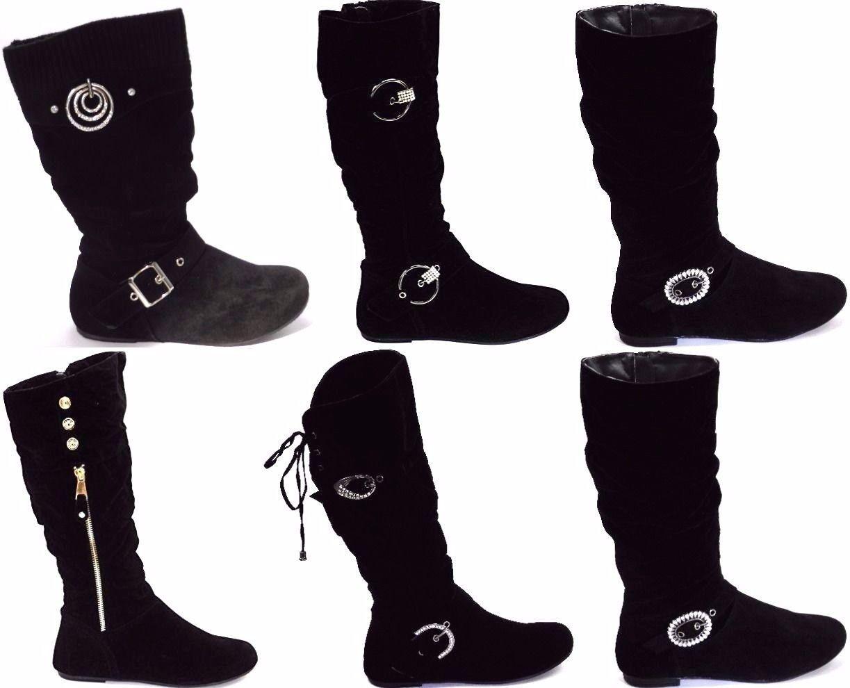 Women's Knee High Mid calf Slouchy Rhinestone Buckle Riding Boot Shoe Sz 6-10