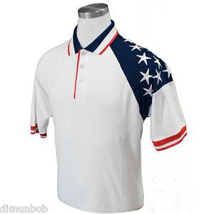 Men-039-s-American-Flag-Pique-Polo-or-Golf-shirt-White-FREE-SHIPPING-RP310W