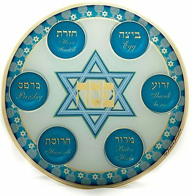 Uniqe Glass Plate Blessing Passover Seder Blue Pesach Jewish Holiday Pesach Wow!
