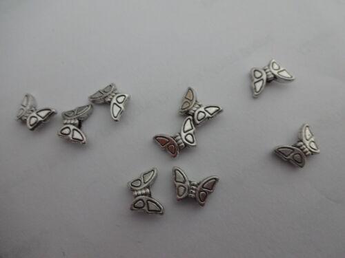 25//50//100 ¡ nuevo Tibetano Antiguo Mariposa De Plata espaciador granos 8 Mm Doble Cara