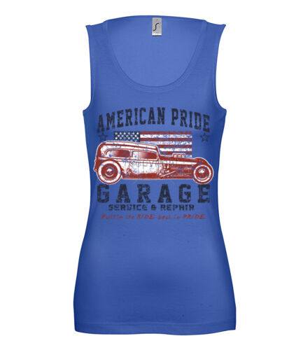 Señora Tank Top Hot Rod American Pride garaje Service /& Repair blues 15710