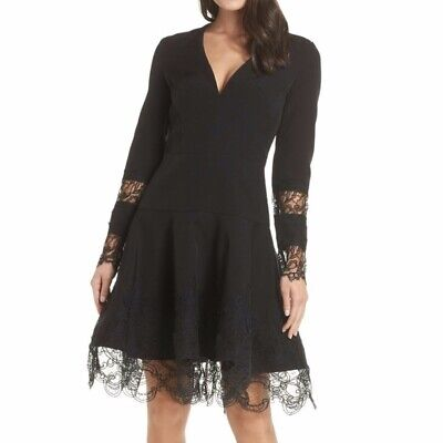 New Bronx Amp Banco Antonia Fit Amp Flare Lace Dress In Black