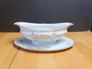 Rosenthal Modell Gravy Boat with Attached Underplate R1817 White Pink Flowers