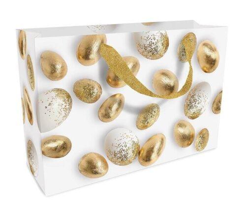 GESCHENKTASCHE GOLDEN EGGS OSTERN 23 x 17 cm GESCHENK-TASCHE VERPACKUNG