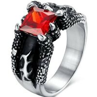 Men Stainless Steel Retro Biker Dragon Claw Gothic Ruby Ring Vintage Red Black