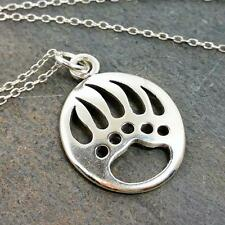 Bear Paw Necklace - 925 Sterling Silver - Bear Claw Paw Print Charm Jewelry NEW