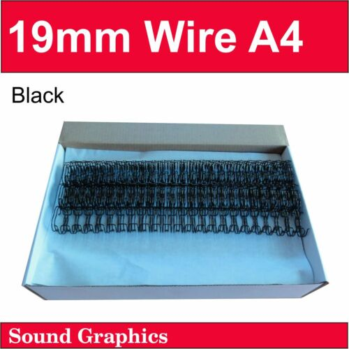 19mm 3/4 (150 sheets) TWIN LOOP BINDING WIRE Box of 50 - Black/White/Silver