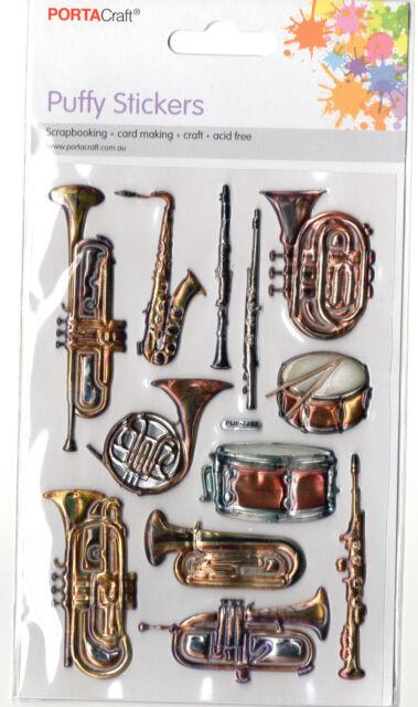 Vintage Wind Instruments Enamel Look Embossed Stickers