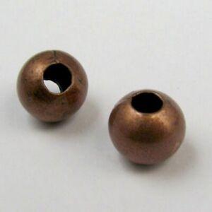 10-Perles-Metal-10mm-Grand-Trou-Couleur-Cuivre-Creation-bracelet-bijoux-collier