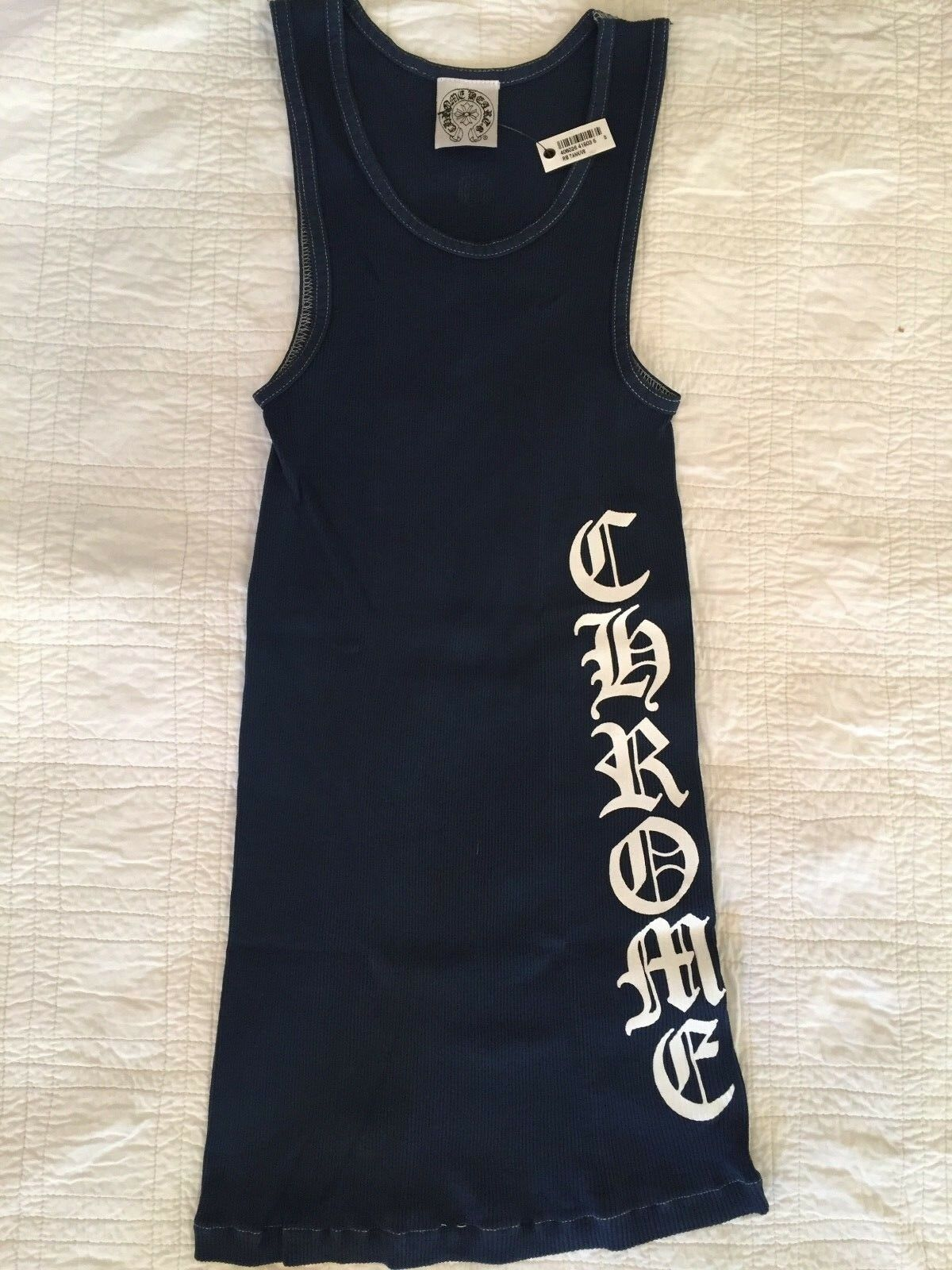 Lot of 25 Authentic Chrome Hearts Unisex Navy Ribbed Tank Top, Small, New, V8