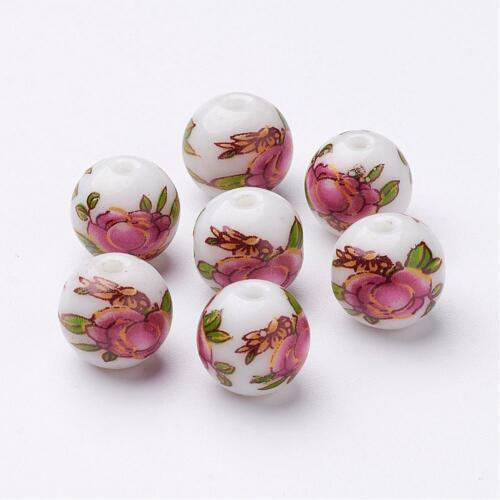 6pc 10mm round Flower Picture Glass Beads-8198n