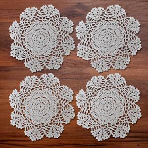 """4Pcs/Lot White Hand Vintage Round Crochet Lace Doilies Cotton Home Wedding 7.8"""""""