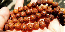Tibetan Blessed Mala Old Buddha Natural Eye Bodhi Seeds Mala PrayerBead Necklace