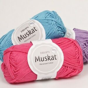 DROPS-COTTON-DK-YARN-Muskat-Egyptian-mercerised-cotton-40-colours-large-stock