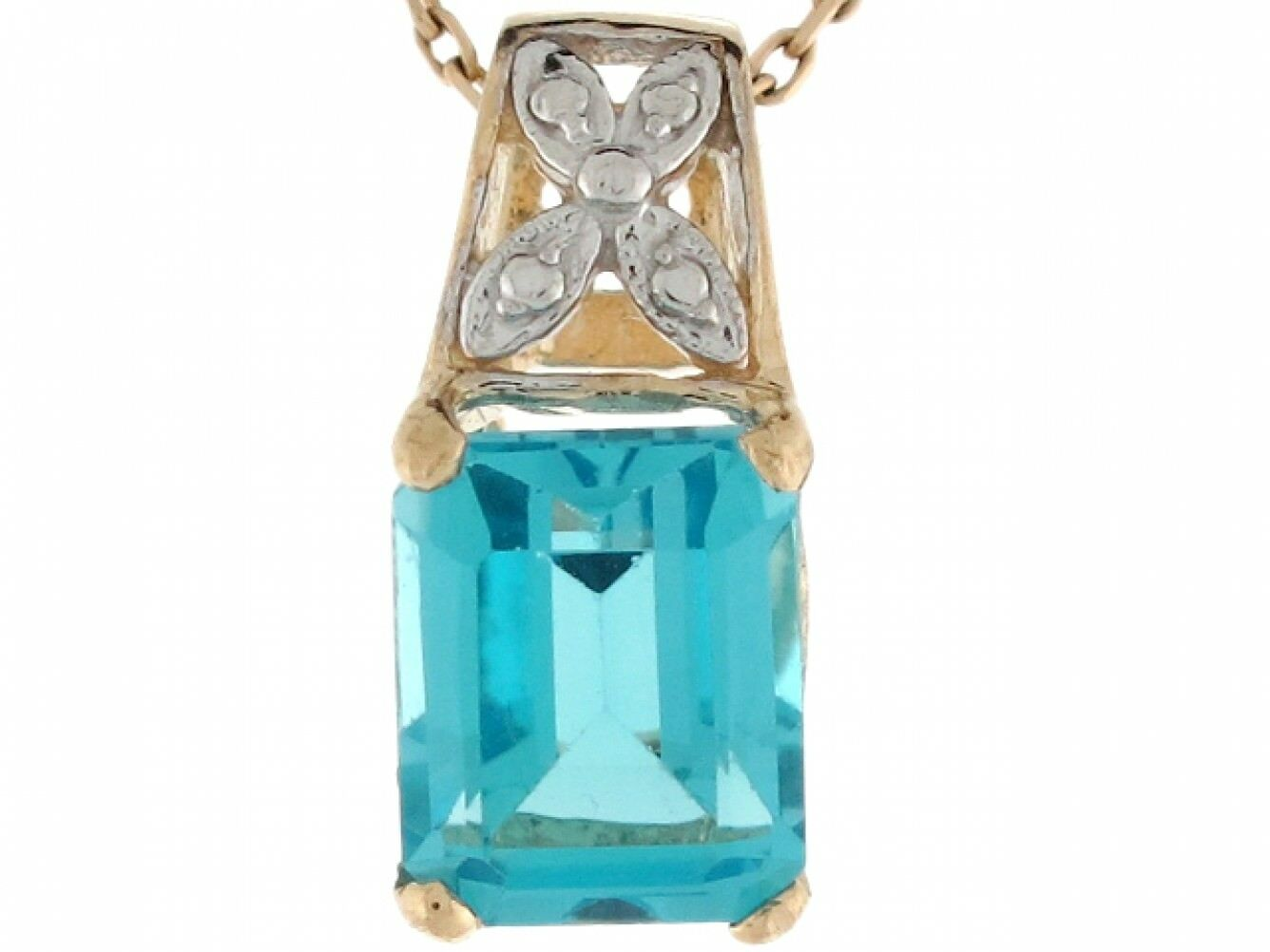 10k or 14k Two-Toned Real gold bluee Topaz Ladies December Birthstone Pendant