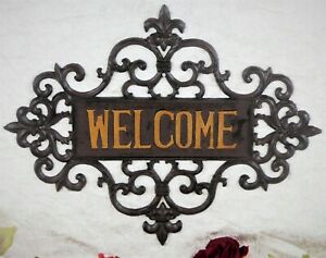 Wandschild Welcome Eisenschild Türschild Gusseisen Eingangsschild Deko antik