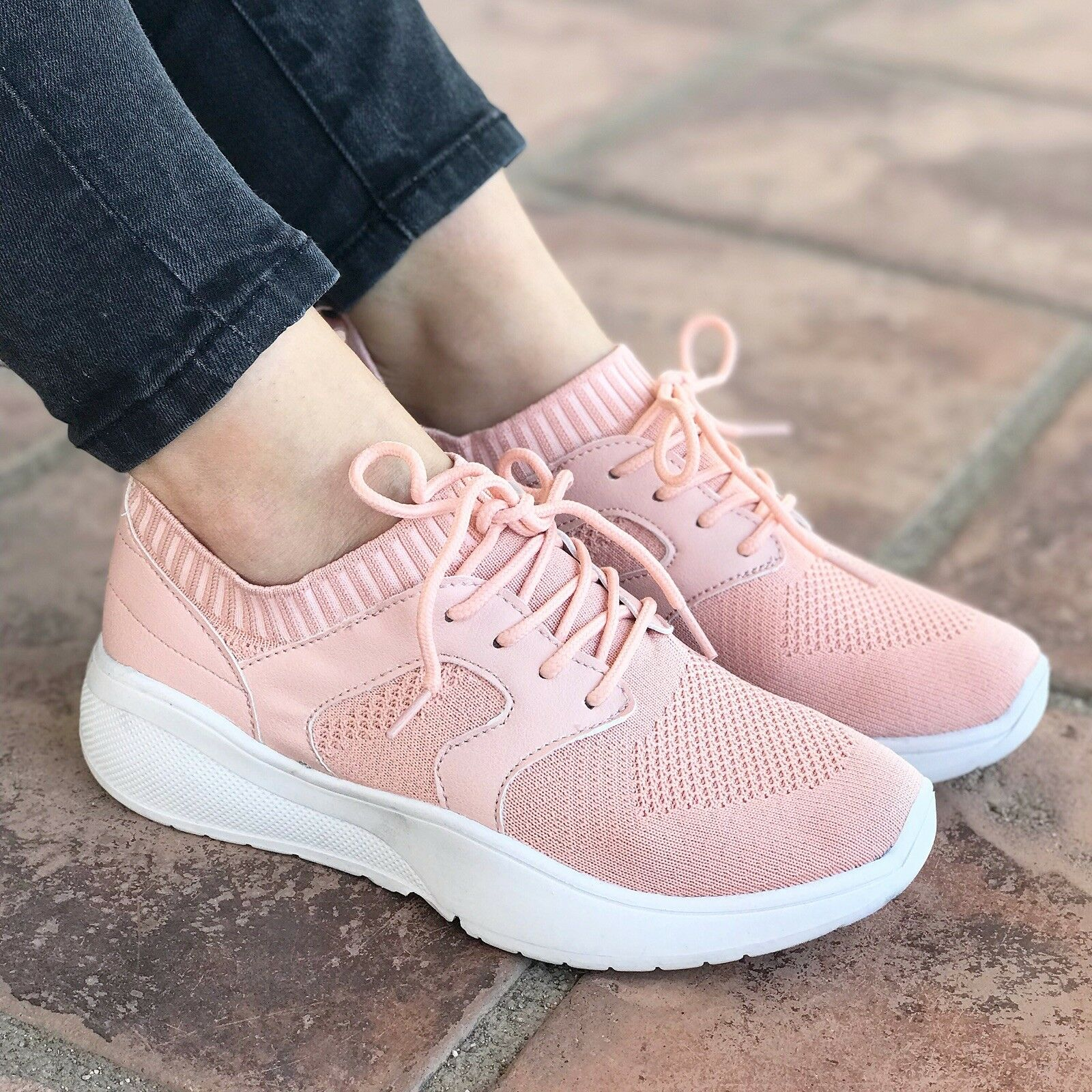 New  Qupid shoes SPORT-01 PINK Flyknit Casual Sneaker - SIZE 9