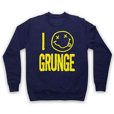 I Love Grunge Music Slogan Rock Cool Smiley Face Logo Adults Kids Sweatshirt