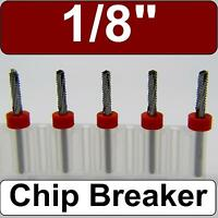 Five 1/8 Router Bits - Carbide - Chip Breaker - Drill Point Tip Cnc Models N