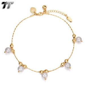 Tt 18k Gold Filled Chain Pearl Anklet Jingle Bell Ajustable New an10