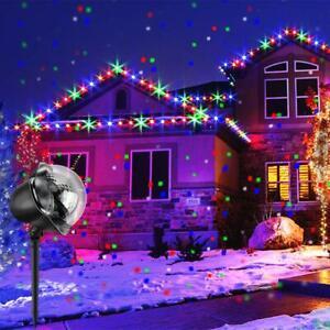Proiettore Luci Natalizie Per Esterno Ebay.Proiettore Luci Di Natale Fiocchi Di Neve Colorati Rgb Da Esterno Giardino Ebay