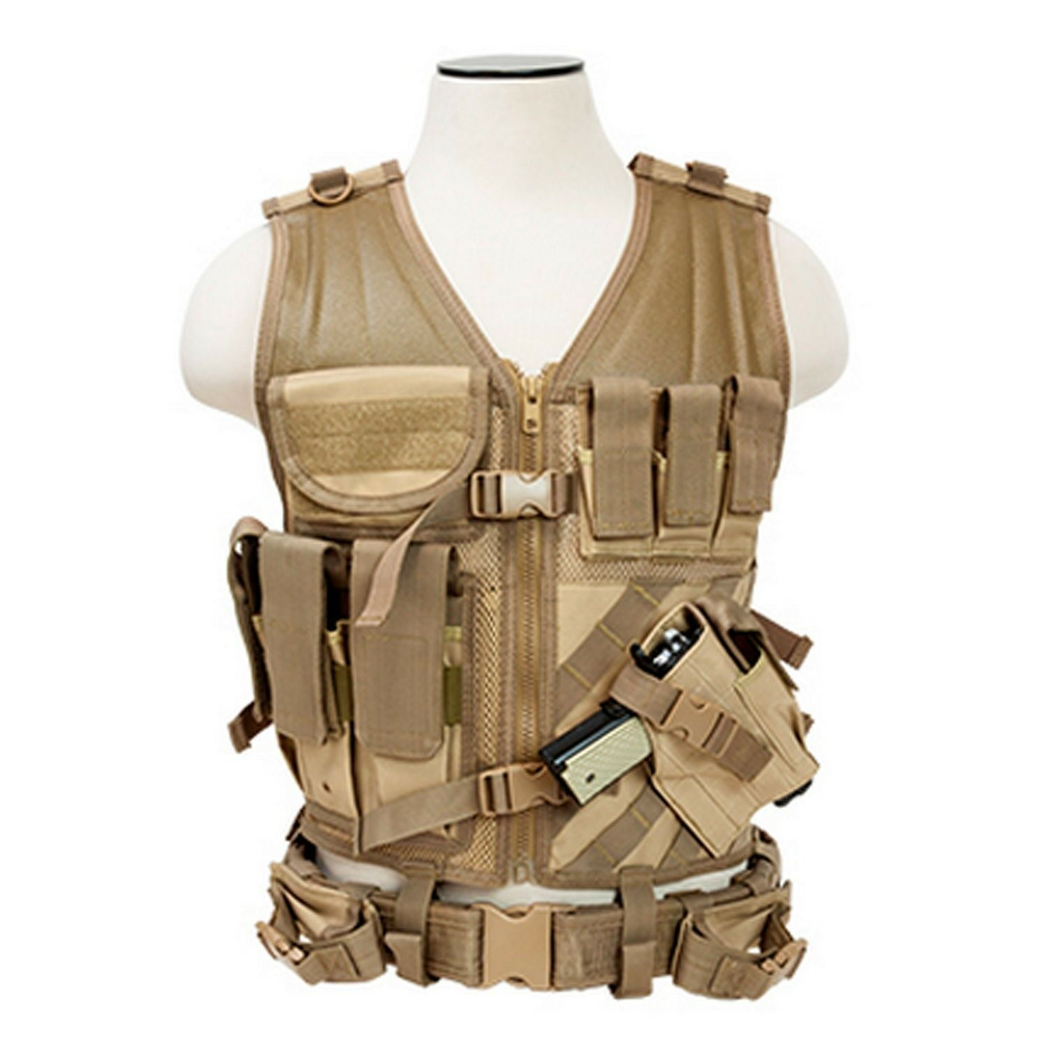 NcSTAR CTVL2916T 2XL Tan Tactical Military MOLLE X-Draw Combat  Assault Vest  save up to 70% discount