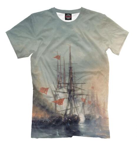 Ships battle Aivazovsky t-shirt art sea wave Синопский бой Айвазовский painting