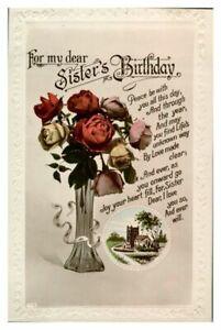 Antique-RPPC-postcard-Birthday-card-Sister-vase-of-roses-flowers