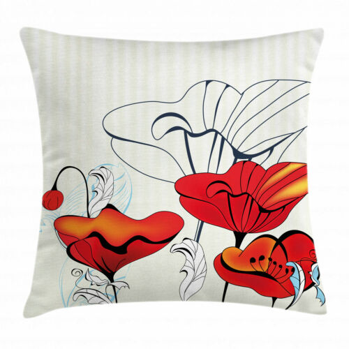 Poppy Throw Pillow Cases Cushion Covers by Ambesonne Home Accent Decor 8 Sizes